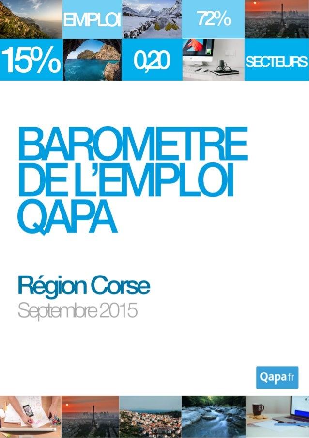 Septembre 2015 - Baromètre de l'emploi en région Corse par Qapa - Tous droits réservés. 1