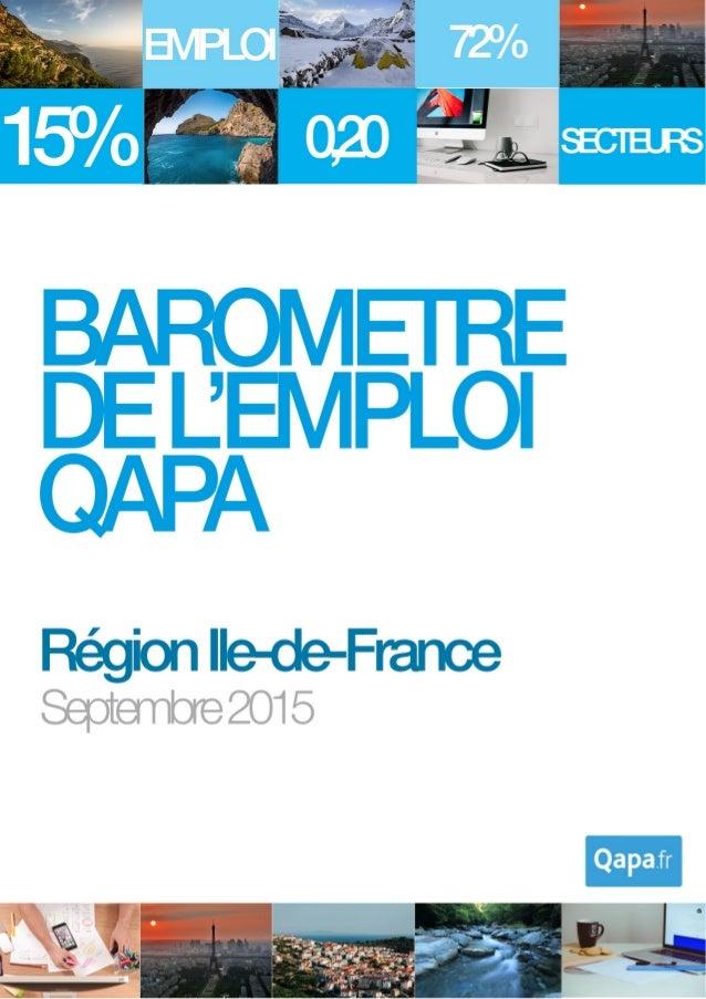 Septembre 2015 - Baromètre de l'emploi en région Ile-de-France par Qapa - Tous droits réservés. 1