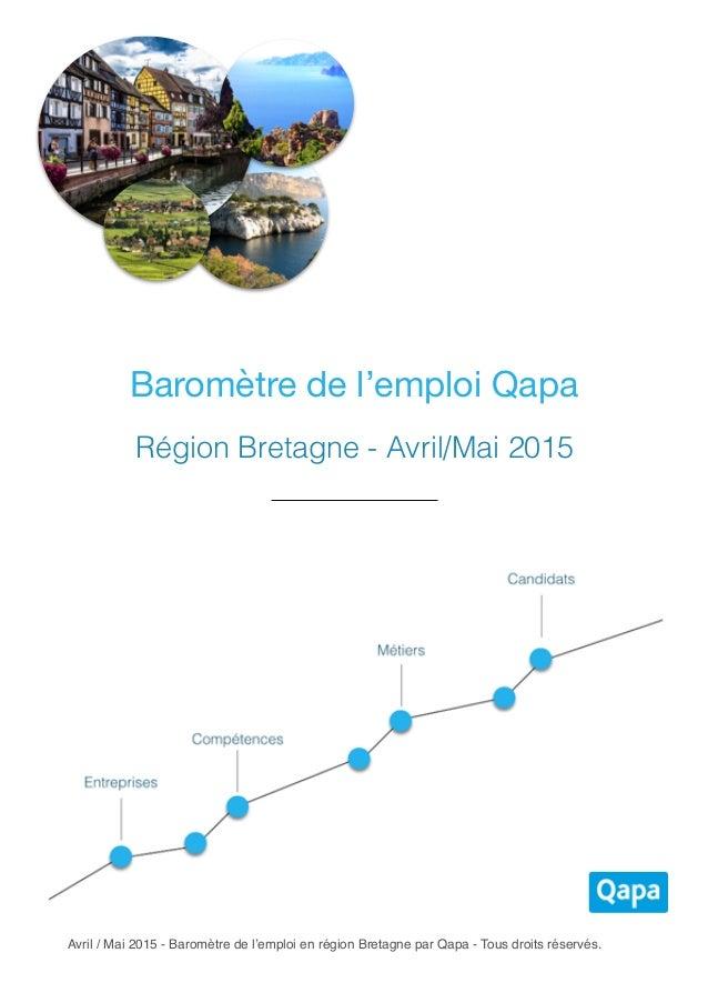 Avril / Mai 2015 - Baromètre de l'emploi en région Bretagne par Qapa - Tous droits réservés. Baromètre de l'emploi Qapa Ré...