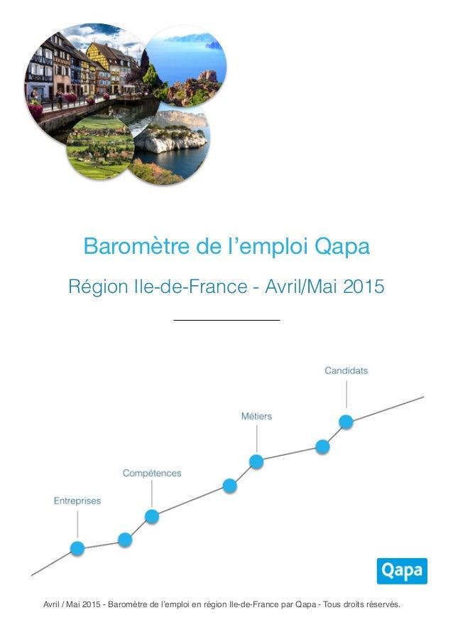 Avril / Mai 2015 - Baromètre de l'emploi en région Ile-de-France par Qapa - Tous droits réservés. Baromètre de l'emploi Qa...