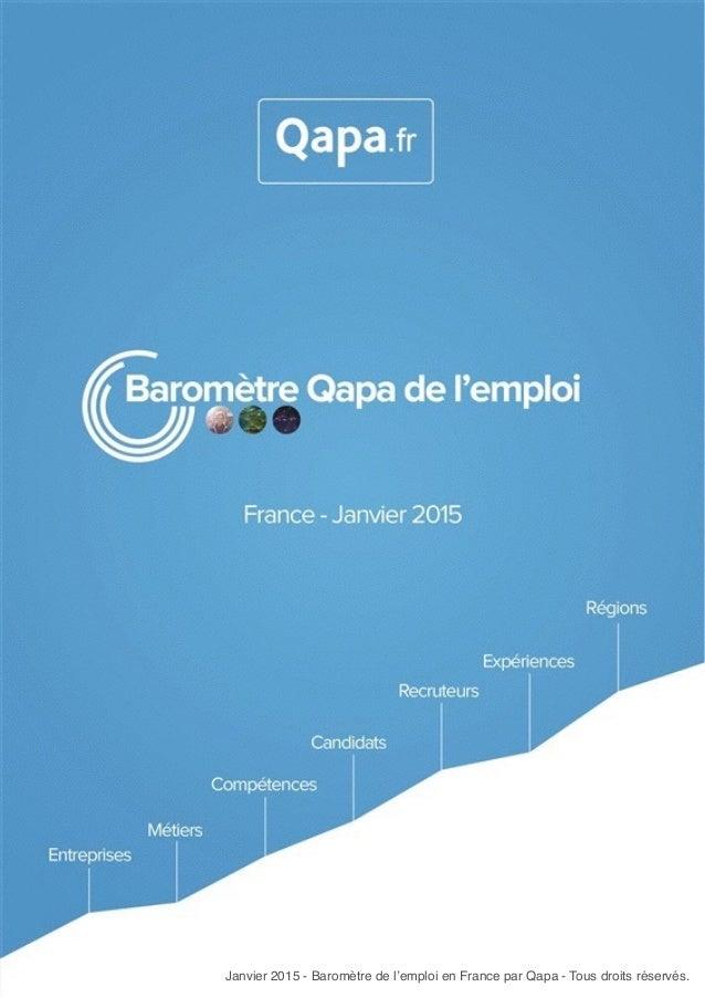 Janvier 2015 - Baromètre de l'emploi en France par Qapa - Tous droits réservés. Janvier 2015 - Baromètre de l'emploi en Fr...