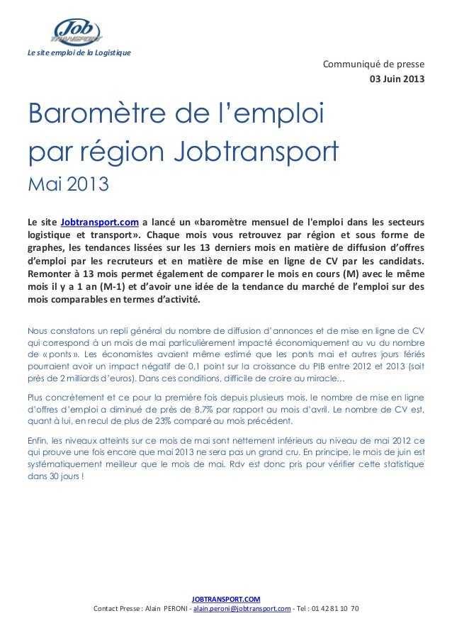 Le site emploi de la LogistiqueJOBTRANSPORT.COMContact Presse : Alain PERONI - alain.peroni@jobtransport.com - Tel : 01 42...