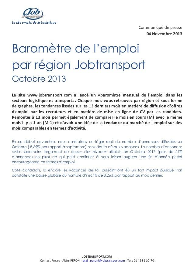 Le site emploi de la Logistique  Communiqué de presse 04 Novembre 2013  Baromètre de l'emploi par région Jobtransport Octo...