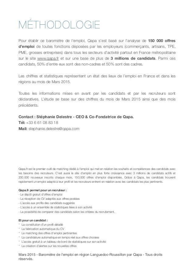 Barom tre de l 39 emploi qapa en languedoc roussillon mars 2015 - Cabinet de recrutement languedoc roussillon ...