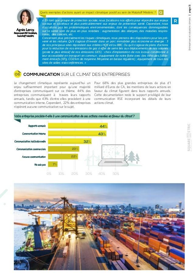 Entreprisesetsolutionsclimatspage.11 Agnès Lancy, Responsabilité Sociétale, Malakoff Médéric Q R«En tant que groupe de pr...