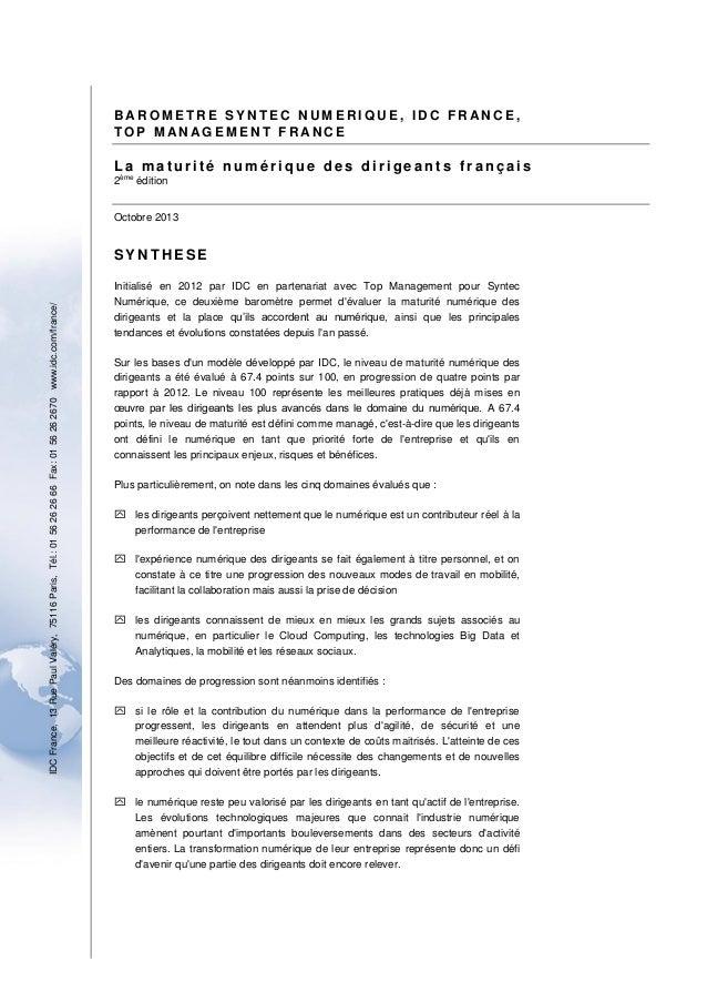 BAROMETRE SYNTEC NUM ERIQUE, IDC FRANCE, TOP MAN AGEMENT FRANC E  La maturité numérique des dirigeants français 2  ème  éd...