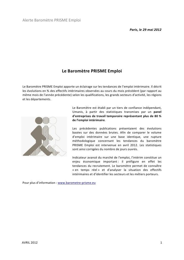 Alerte Baromètre PRISME Emploi                                                                              Paris, le 29 m...
