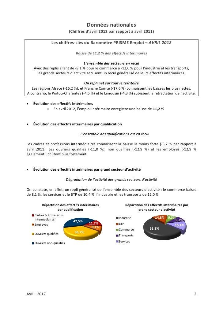 Données nationales                              (Chiffres d'avril 2012 par rapport à avril 2011)                Les chiffr...