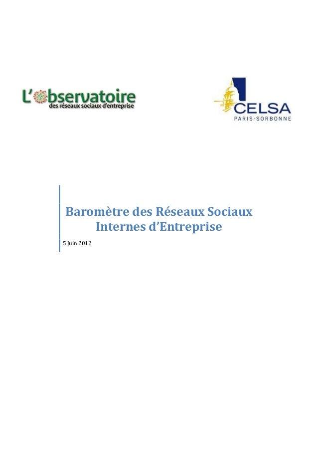 Baromètre des Réseaux Sociaux Internes d'Entreprise 5 Juin 2012