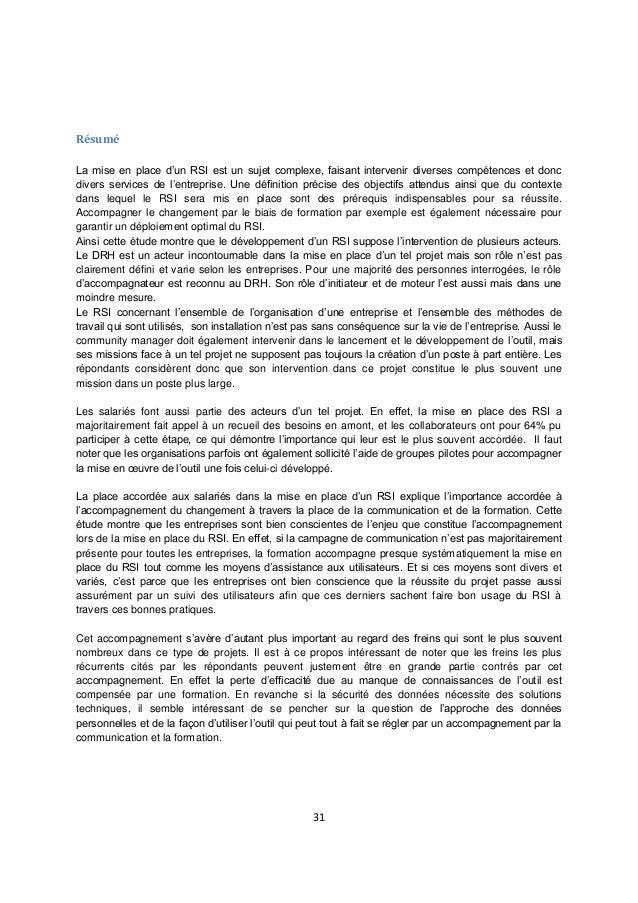 31 Résumé La mise en place d'un RSI est un sujet complexe, faisant intervenir diverses compétences et donc divers services...