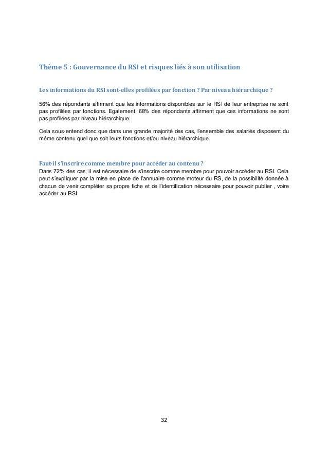 32 Thème 5 : Gouvernance du RSI et risques liés à son utilisation Les informations du RSI sont-elles profilées par fonctio...