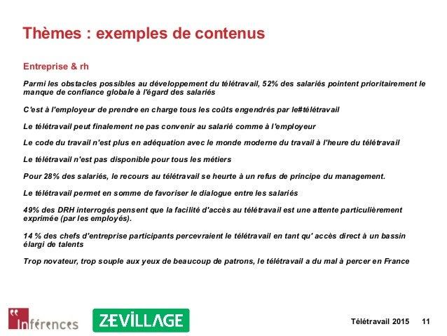 Télétravail 2015 11 Thèmes : exemples de contenus Entreprise & rh Parmi les obstacles possibles au développement du télétr...
