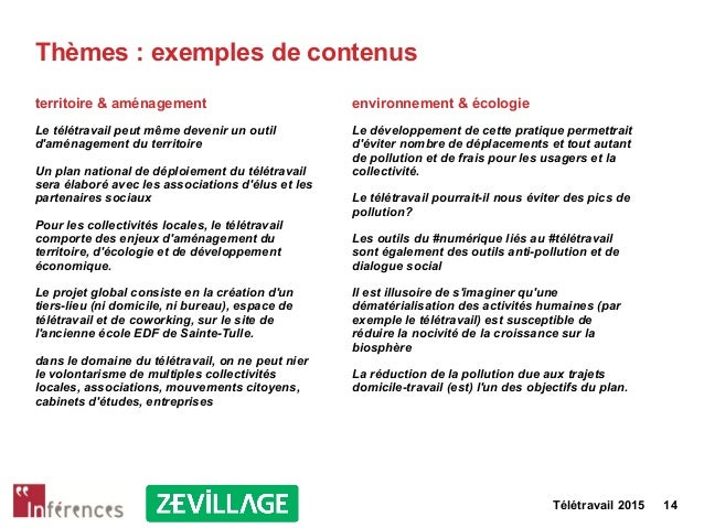 Télétravail 2015 14 Thèmes : exemples de contenus territoire & aménagement Le télétravail peut même devenir un outil d'amé...