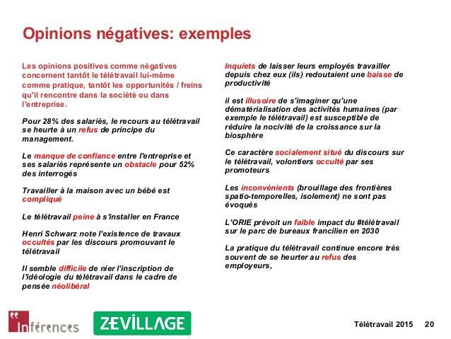 Télétravail 2015 20 Opinions négatives: exemples Les opinions positives comme négatives concernent tantôt le télétravail l...