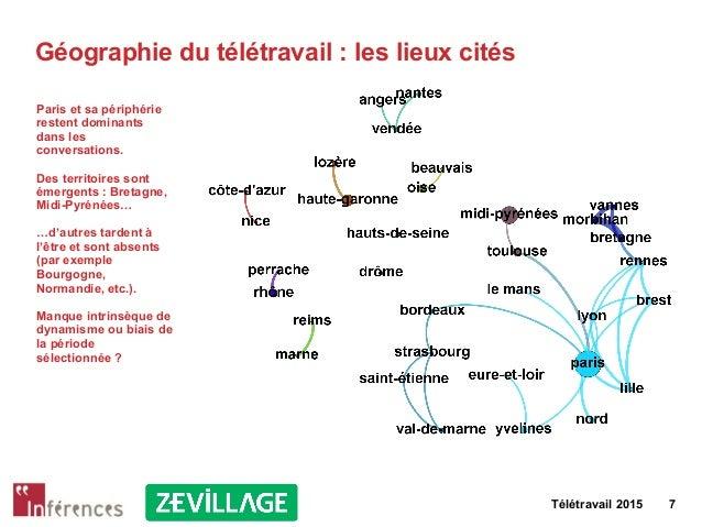 Télétravail 2015 7 Géographie du télétravail : les lieux cités Paris et sa périphérie restent dominants dans les conversat...