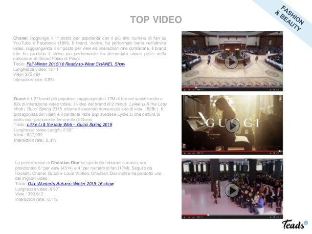 Chanel raggiunge il 1° posto per popolarità con il più alto numero di fan su YouTube e Facebook (18M). Il brand, inoltre, ...