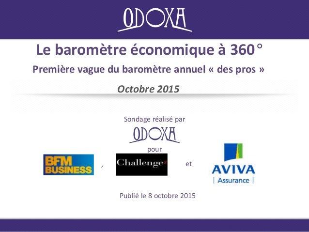 Le baromètre économique à 360° Première vague du baromètre annuel « des pros » Octobre 2015 Sondage réalisé par Publié le ...