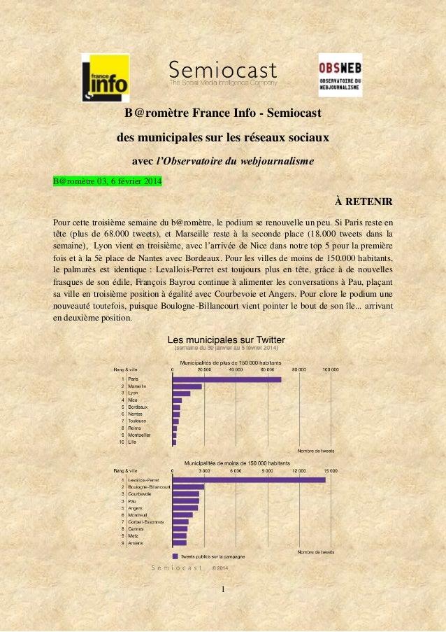 B@romètre France Info - Semiocast des municipales sur les réseaux sociaux avec l'Observatoire du webjournalisme B@romètre ...