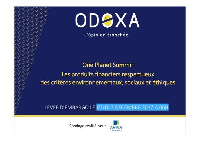 One Planet SummitOne Planet SummitOne Planet SummitOne Planet Summit Les produits financiers respectueuxLes produits finan...