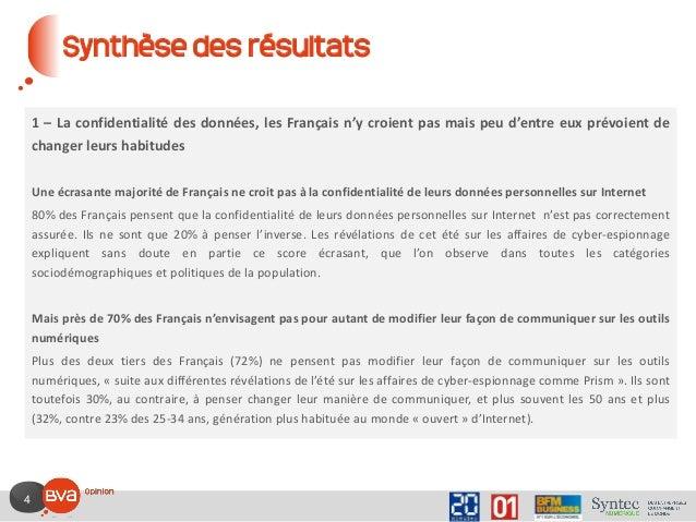 4 Synthèse des résultats 1 – La confidentialité des données, les Français n'y croient pas mais peu d'entre eux prévoient d...