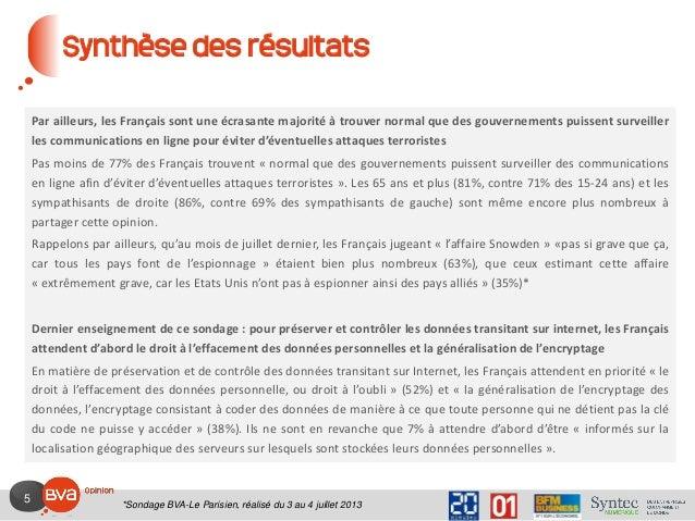 5 Synthèse des résultats Par ailleurs, les Français sont une écrasante majorité à trouver normal que des gouvernements pui...