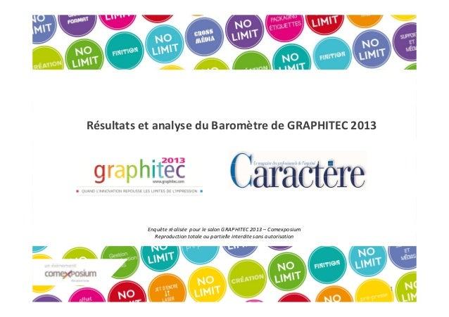 Résultats et analyse du Baromètre de GRAPHITEC 2013  Enquête réalisée pour le salon GRAPHITEC 2013 – Comexposium Reproduct...