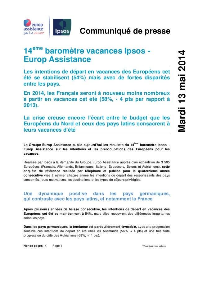 Nbr de pages 4 Page 1 14ème baromètre vacances Ipsos Europ Assistance Les intentions de départ en vacances des Européens c...