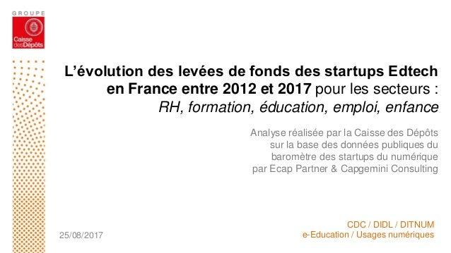 L'évolution des levées de fonds des startups Edtech en France entre 2012 et 2017 pour les secteurs : RH, formation, éducat...