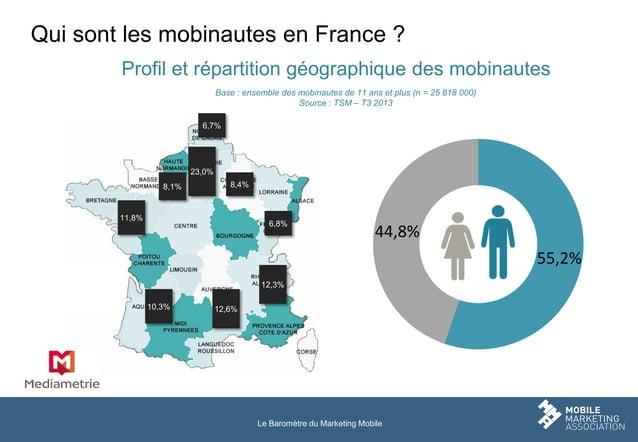 Qui sont les mobinautes en France ? Profil et répartition géographique des mobinautes Base : ensemble des mobinautes de 11...