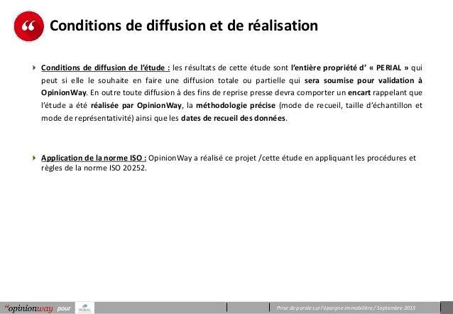 Prise de parole sur l'épargne immobilière / Septembre 2015pourpour Conditions de diffusion et de réalisation  Conditions ...
