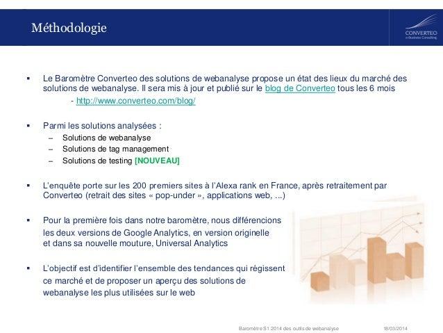 18/03/2014Baromètre S1 2014 des outils de webanalyse Méthodologie  Le Baromètre Converteo des solutions de webanalyse pro...