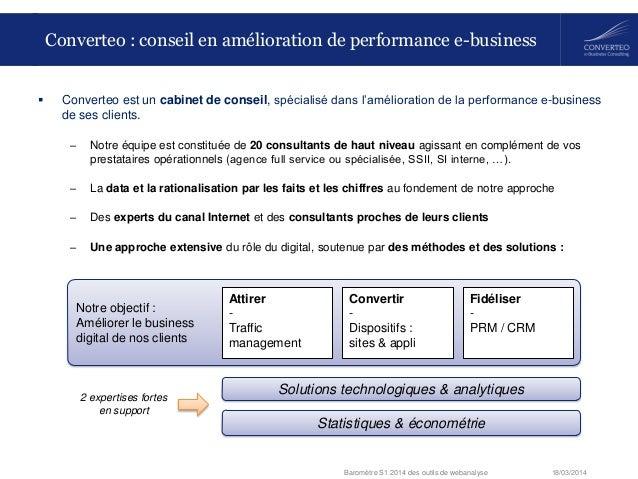 18/03/2014Baromètre S1 2014 des outils de webanalyse  Converteo est un cabinet de conseil, spécialisé dans l'amélioration...