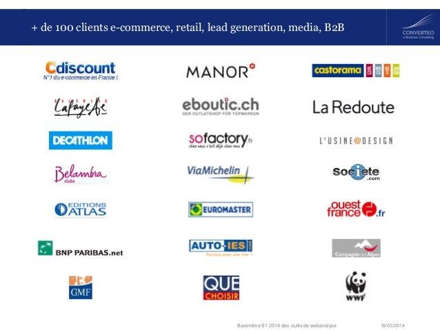 18/03/2014Baromètre S1 2014 des outils de webanalyse + de 100 clients e-commerce, retail, lead generation, media, B2B