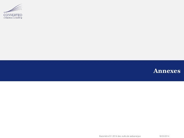 18/03/2014Baromètre S1 2014 des outils de webanalyse Annexes