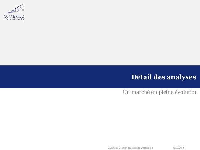 18/03/2014Baromètre S1 2014 des outils de webanalyse Un marché en pleine évolution Détail des analyses