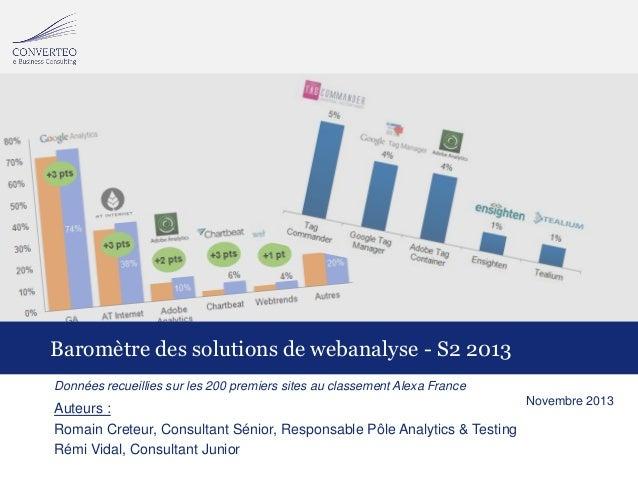 Baromètre des solutions de webanalyse - S2 2013 Données recueillies sur les 200 premiers sites au classement Alexa France ...