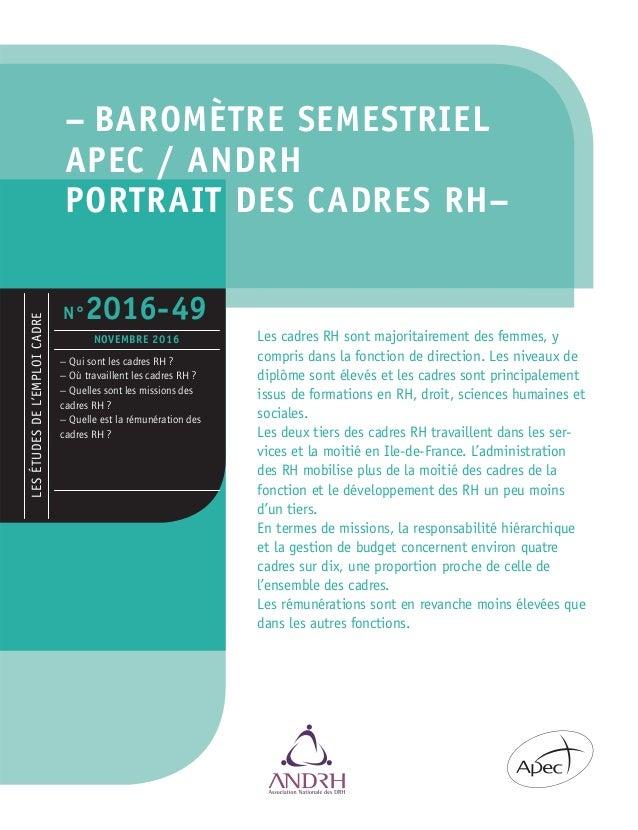– BAROMÈTRE SEMESTRIEL APEC / ANDRH PORTRAIT DES CADRES RH– Les cadres RH sont majoritairement des femmes, y compris dans ...