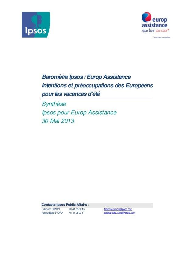 Baromètre Ipsos / Europ AssistanceIntentions et préoccupations des Européenspour les vacances d'étéSynthèseIpsos pour Euro...