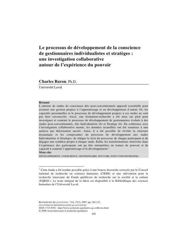 Le processus de développement de la consciencede gestionnaires individualistes et stratèges :une investigation collaborati...