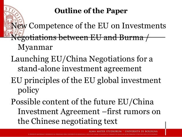 The Eu'S International Investment Policy And The Negotiations For Eu …
