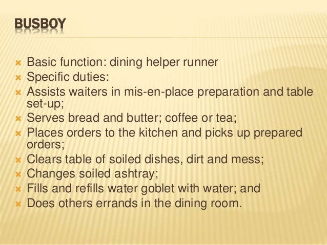 29 BUSBOY Basic Function Dining