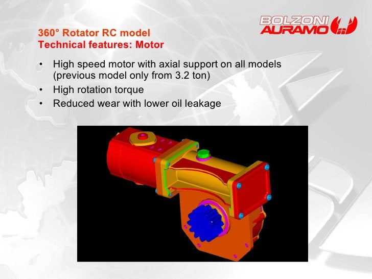 360° Rotator RC model Technical features: Motor <ul><li>High speed motor with axial support on all models (previous model ...