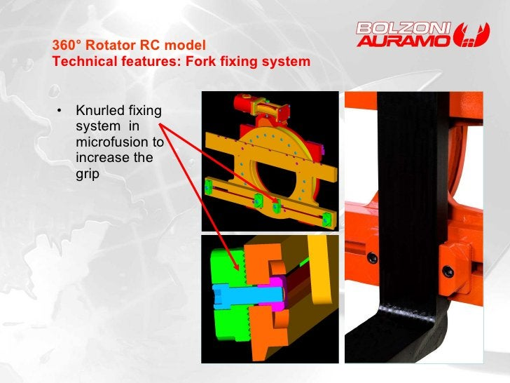 <ul><li>Knurled fixing system  in microfusion   to increase the grip </li></ul>360° Rotator RC model Technical features: F...