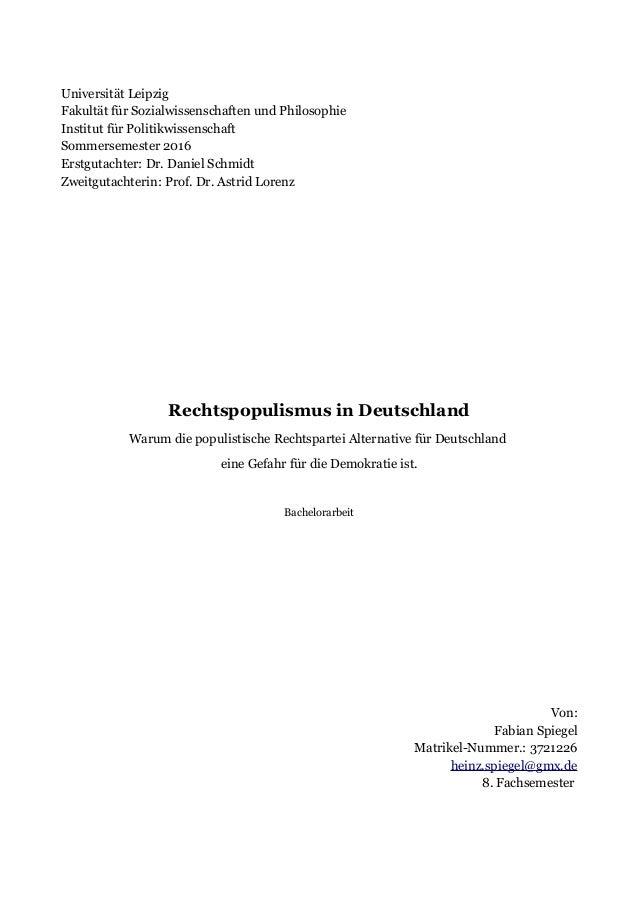 Universität Leipzig Fakultät für Sozialwissenschaften und Philosophie Institut für Politikwissenschaft Sommersemester 2016...