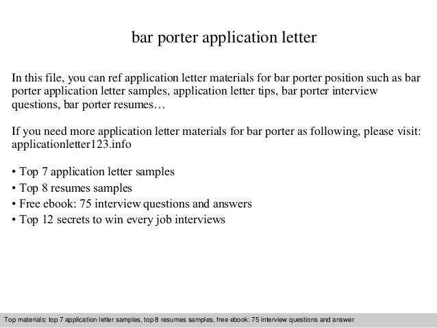 Bar porter application letter