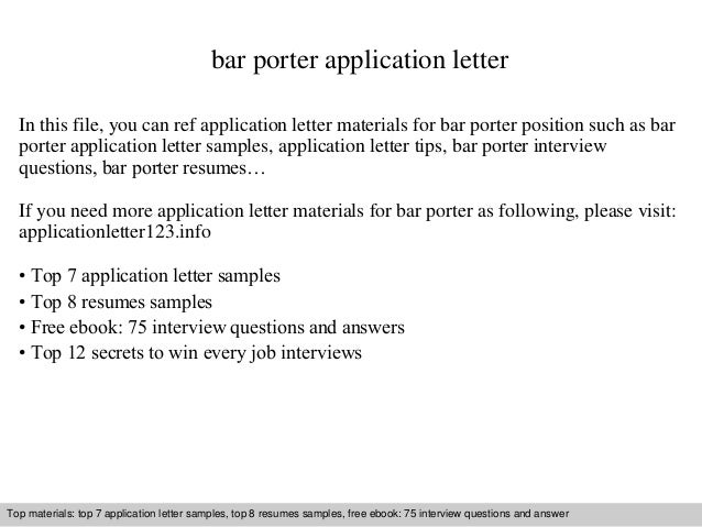 Bar Porter Application Letter In This File, You Can Ref Application Letter  Materials For Bar Application Letter Sample ...