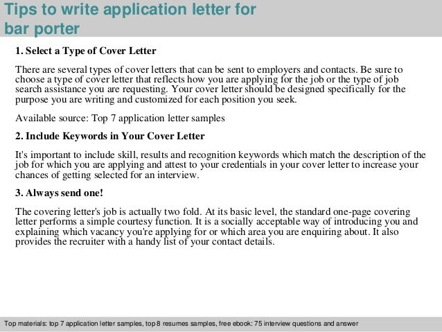 Awesome ... Resumes Samples, Free Ebook: 75 Interview Questions And Answer; 3. Tips  To Write Application Letter For Bar Porter ...