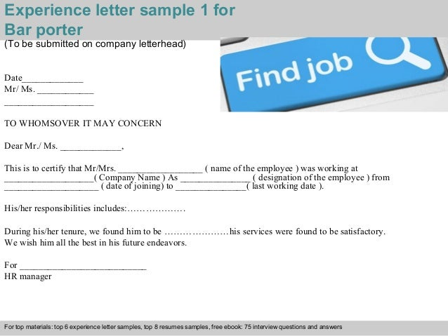 ... Pdf And Ppt File; 2. Experience Letter Sample 1 For Bar Porter ...