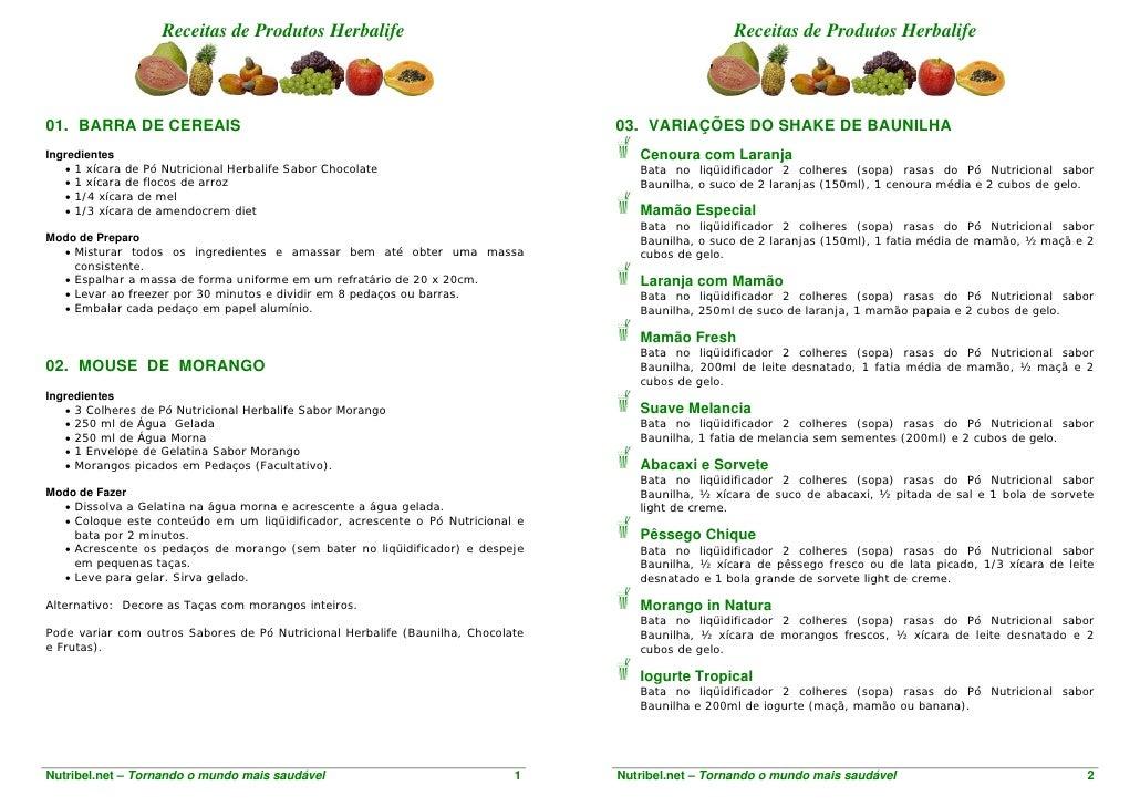 Receitas de Produtos Herbalife                                                   Receitas de Produtos Herbalife    01. BAR...