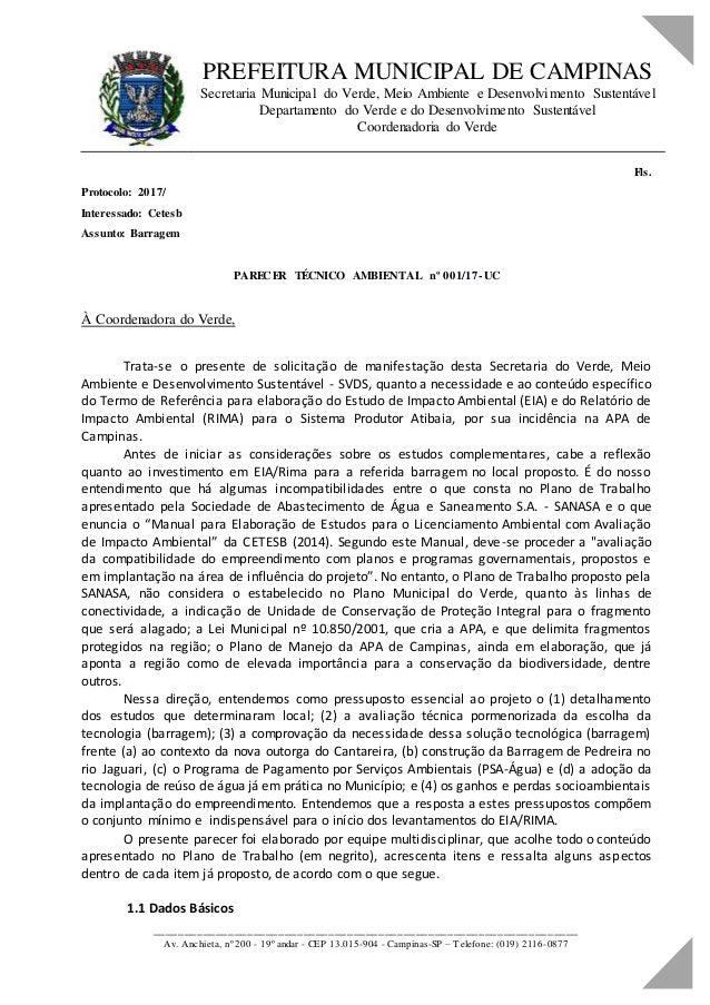PREFEITURA MUNICIPAL DE CAMPINAS Secretaria Municipal do Verde, Meio Ambiente e Desenvolvimento Sustentável Departamento d...